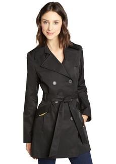 Via Spiga black cotton blend belted trench coat