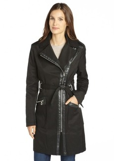 Via Spiga black cotton blend faux leather trimmed belted trench