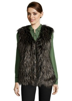 Via Spiga black faux fur collarless vest