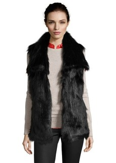 Via Spiga black faux fur oversized collar vest