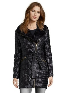 Via Spiga black quilted asymmetrical zip 3/4 length jacket