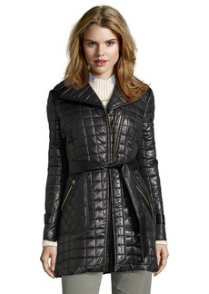 Via Spiga black quilted asymmetrical zip belted coat
