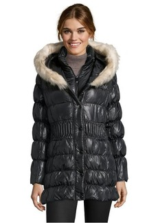 Via Spiga black quilted faux fur trim hooded down jacket