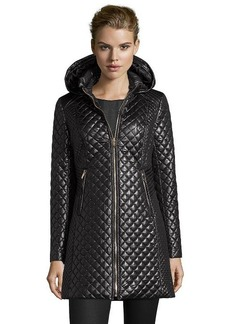 Via Spiga black quilted poly woven hooded zip front jacket