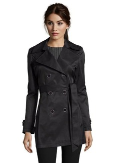 Via Spiga black water repellent cotton blend laser cut detail trench coat