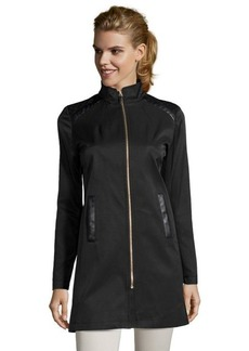 Via Spiga black water resistant zip front laser cut out coat