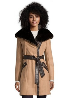 Via Spiga camel wool faux fur trimmed belted coat