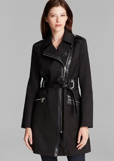 Via Spiga Coat - Asymmetric Rain Walker with Faux Leather Detail
