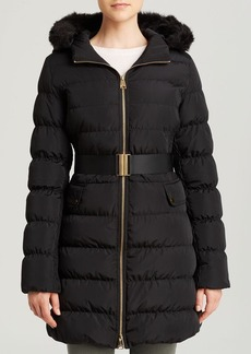Via Spiga Coat - Belted Faux Fur Lined Hood