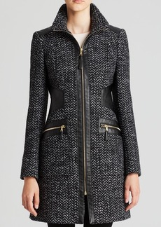 Via Spiga Coat - Chevron Tassel Faux Leather Trim