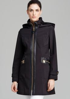Via Spiga Coat - Faux Leather Trim Soft Shell Hooded
