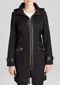 Via Spiga Coat - Hooded Faux Leather Trim