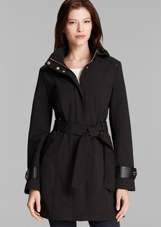 Via Spiga Coat - Hooded Soft Shell Walker with Belt