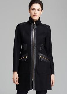 Via Spiga Coat - Mid Length Faux Leather Trim