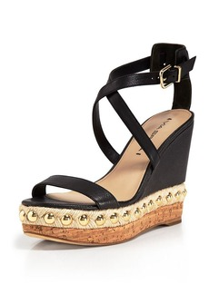 Via Spiga Cork Bottom Platform Sandals - Moss Wedge