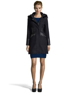 Via Spiga dark blue wool faux fur trimmed hooded 3/4 coat