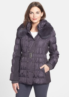 Via Spiga Double Breasted Puffer Jacket with Genuine Rabbit Fur Trim (Online Only)