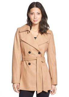 Via Spiga Double Breasted Wool Blend Trench Coat