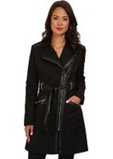Via Spiga Fashion Rain Asymmetrical Zip w/ PU Detail