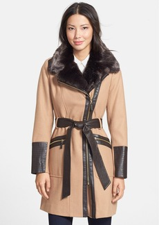 Via Spiga Faux Fur & Faux Leather Trim Asymmetrical Belted Coat (Online Only)
