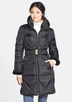 Via Spiga Faux Fur Cuff Belted Down & Feather Coat (Online Only)