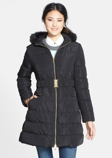 Via Spiga Faux Fur Trim Hooded Down & Feather Coat (Online Only)
