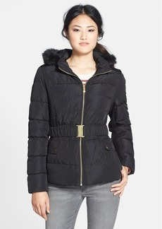 Via Spiga Faux Fur Trim Hooded Puffer Jacket (Online Only)