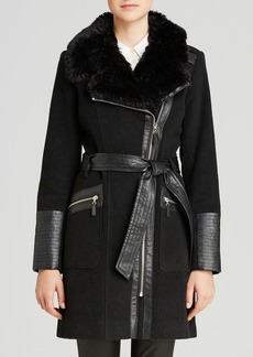 Via Spiga Faux Leather And Faux Fur Collar Coat