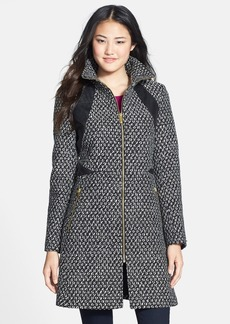 Via Spiga Faux Leather Trim Front Zip Coat