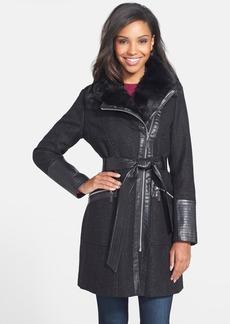 Via Spiga Faux Leather Trim Herringbone Wool Blend Coat (Online Only) (Regular & Petite)