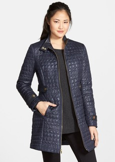 Via Spiga Faux Leather Trim Stand Collar Quilted Coat