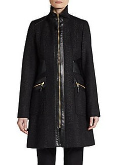 Via Spiga Faux Leather-Trim Tweed Coat