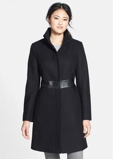 Via Spiga Faux Leather Trim Wool Blend Coat