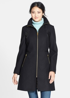 Via Spiga Faux Leather Trim Zip Front Wool Blend Coat (Online Only)