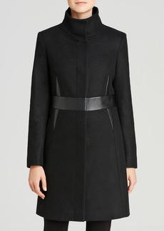 Via Spiga Faux Leather Waist Walker Coat