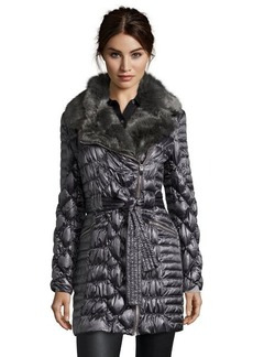 Via Spiga gunmetal quilted asymmetrical zip 3/4 length jacket