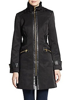 Via Spiga Hooded Faux Leather-Trim Coat