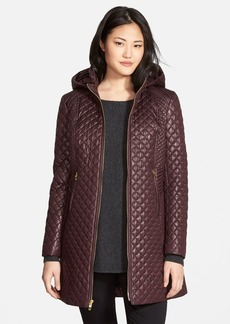 Via Spiga Hooded Front Zip Quilted Coat (Regular & Petite)