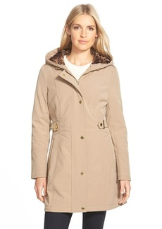 Via Spiga Hooded Soft Shell Coat with Animal Print Lining (Regular & Petite)