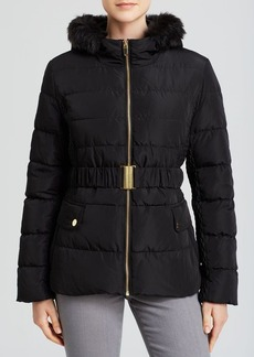 Via Spiga Jacket - Belted with Faux Fur Trim Hood