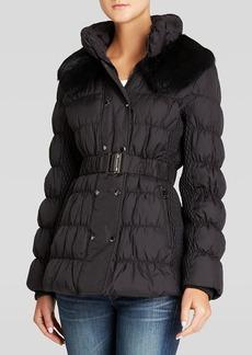 Via Spiga Jacket - Belted with Rabbit Fur Collar