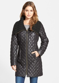 Via Spiga Knit Collar Quilted Front Zip Coat