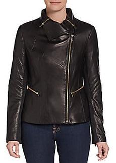 Via Spiga Leather Zip-Detail Jacket