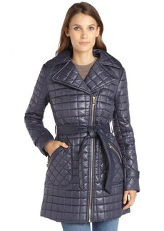 Via Spiga navy quilted asymmetrical zip belted coat