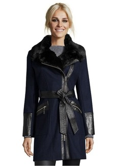 Via Spiga navy wool faux fur trimmed asymmetrical zip jacket