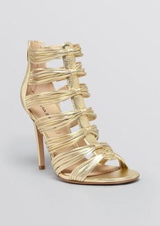 Via Spiga Open Toe Evening Sandals - Terelle Metallic High Heel