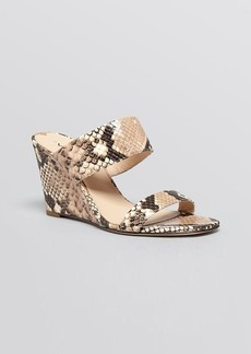 Via Spiga Open Toe Slide Wedge Sandals - Wallia Snake Embossed