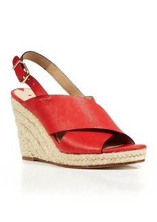 Via Spiga Open Toe Slingback Platform Wedge Espadrille Sandals - Rosette
