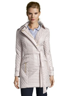 Via Spiga oyster quilted asymmetrical belted coat
