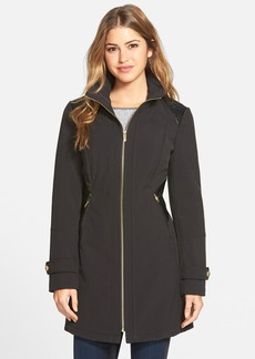Via Spiga Patent Side Panel Zip Front Soft Shell Coat (Regular & Petite)